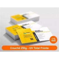 500 Cartões de Visita, Couchê 250g, Fr Color, UV Total Fr