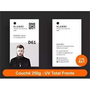 100 Cartões de Visita, Couchê 250g, Fr Color + Verso P&B, UV Total Fr