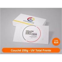 500 Cartões de Visita, Couchê 250g, Fr/Vr Color, UV Total Fr