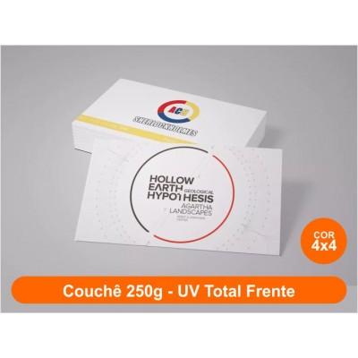 3000 Cartões de Visita, Couchê 250g, Fr/Vr Color, UV Total Fr