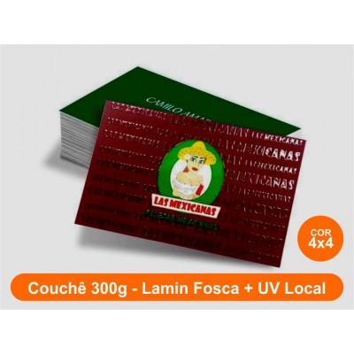 1000 Cartões, Couchê 300g, Lamin. Fosca + Verniz Local