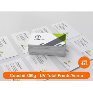 100 Cartões, Couchê 300g, Fr/Vr Colorido, UV Total Fr/Vr