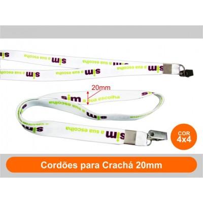 250unid - Cordões para Crachá 20mm / Frente Colorido + Verso Colorido