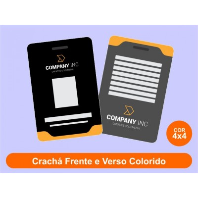 250unid - Crachás em PVC 0,75mm / Frente Colorido + Verso Colorido