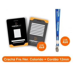 1unid - Crachá Frente e Verso Colorido + Cordão 12mm