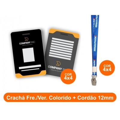 25unid - Crachá Frente e Verso Colorido + Cordão 12mm