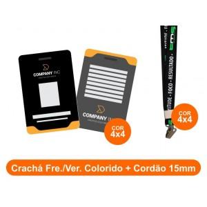 1unid - Crachá Frente e Verso Colorido + Cordão 15mm