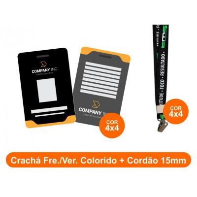 25unid - Crachá Frente e Verso Colorido + Cordão 15mm
