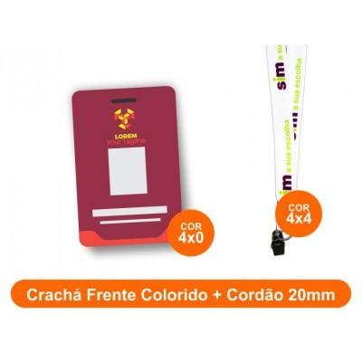 25unid - Crachá Frente Colorido + Cordão 20mm