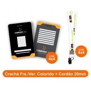 1unid - Crachá Frente e Verso Colorido + Cordão 20mm