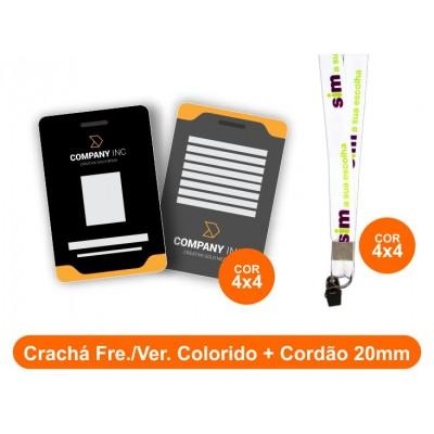 25unid - Crachá Frente e Verso Colorido + Cordão 20mm