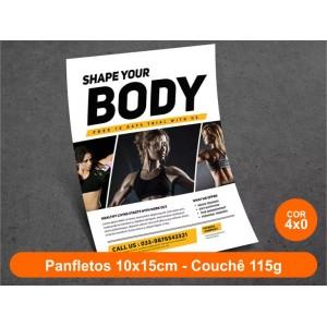 100unid - Panfletos, 10x15cm, couchê 115g, Frente Colorido