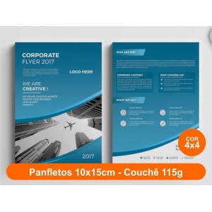 100unid - Panfletos, 10x15cm, couchê 115g, Fr/Ve Colorido