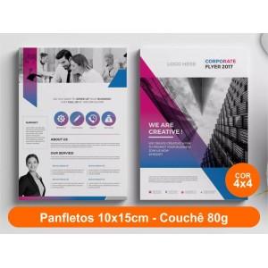100unid - Panfletos, 10x15cm, couchê 80g, Fr/Ve Colorido