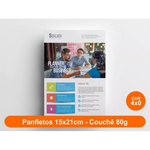 10000unid - Panfletos, 15x21cm, couchê 80g, Frente Colorido