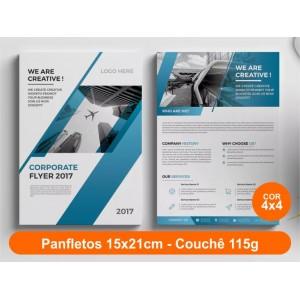 100unid - Panfletos, 15x21cm, couchê 115g, Fr/Ve Colorido
