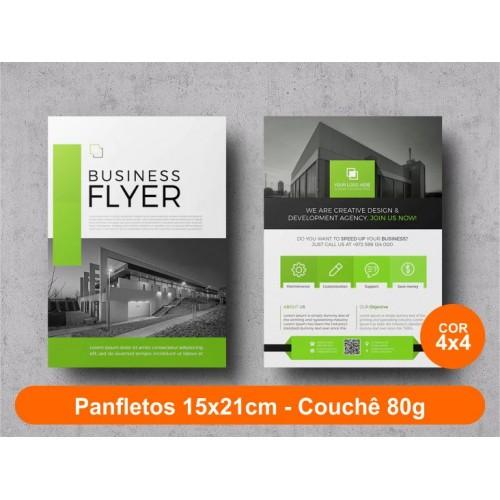 2500unid - Panfletos, 15x21cm, couchê 80g, Fr/Ve Colorido
