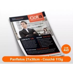 100unid - Panfletos, 21x30cm, couchê 115g, Frente Colorido