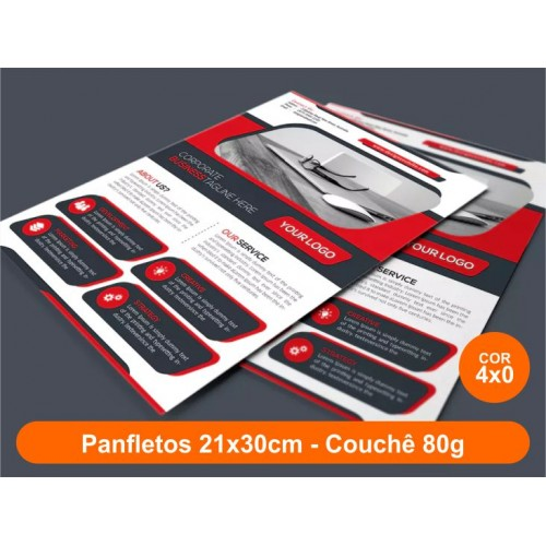 10000unid - Panfletos, 21x30cm, couchê 80g, Frente Colorido