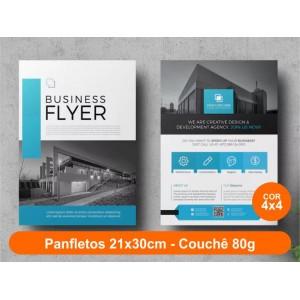 100unid - Panfletos, 21x30cm, couchê 80g, Fr/Ve Colorido