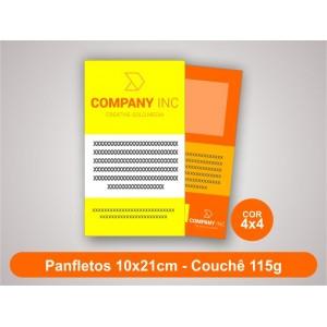 100unid - Panfletos, 10x21cm, couchê 115g, Fr/Ve Colorido