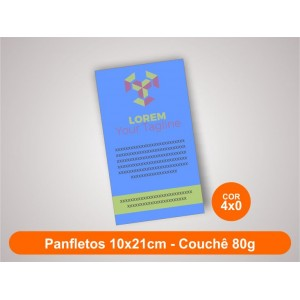 100unid - Panfletos, 10x21cm, couchê 80g, Frente Colorido