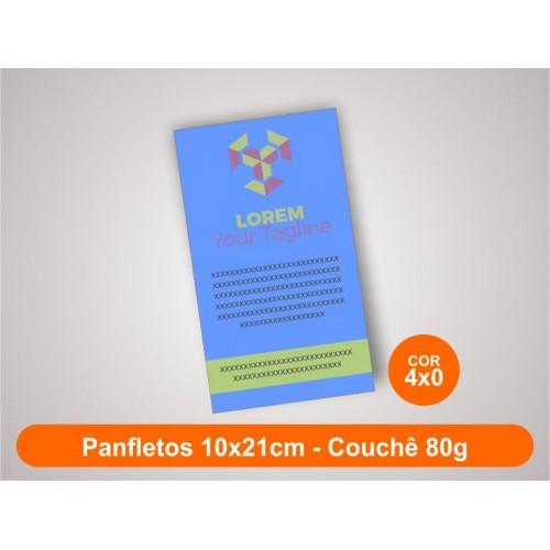 2500unid - Panfletos, 10x21cm, couchê 80g, Frente Colorido