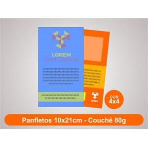 100unid - Panfletos, 10x21cm, couchê 80g, Fr/Ve Colorido